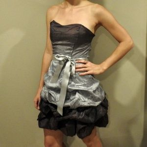 Shades of gray strapless party dress